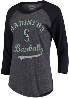 Majestic Women's Threads Navy Seattle Mariners Team Baseball Three-Quarter Raglan Sleeve Tri-Blend T-Shirt