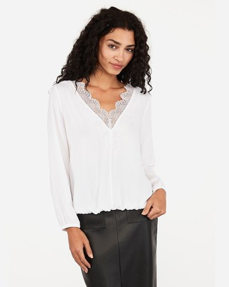 Express Lace V-Neck Banded Top