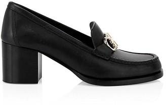 Salvatore Ferragamo Rolo Block-Heel Leather Loafers