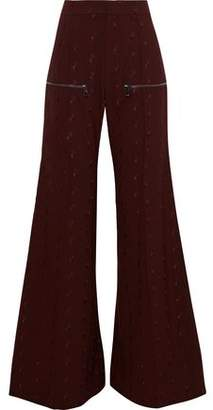Chloé Embroidered Stretch-wool Flared Pants