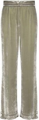 SLEEPING WITH JACQUES Velvet-Effect High-Waist Pyjama Trousers