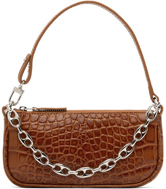 BY FAR Tan Croc Mini Rachel Bag