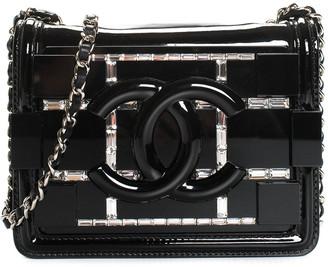 Chanel Black Plexiglass Crystal Leather Mini Flap Bag, Never Carried