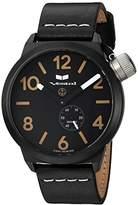 Vestal Quartz Stainless Steel and Leather Dress Watch, Color:Black (Model: CNT453L07.BKWH)