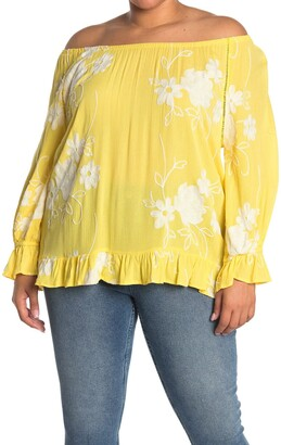 Forgotten Grace Embroidered Floral Print Off-the-Shoulder Blouse