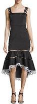 Alexis Marcelina Lace-Trim Mermaid Dress, Black
