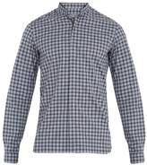 Lanvin Grandad-collar single-cuff checked cotton shirt