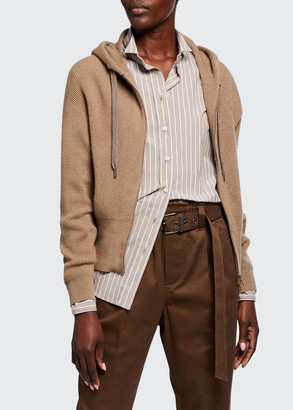 Brunello Cucinelli Cashmere Ribbed Hooded Cardigan