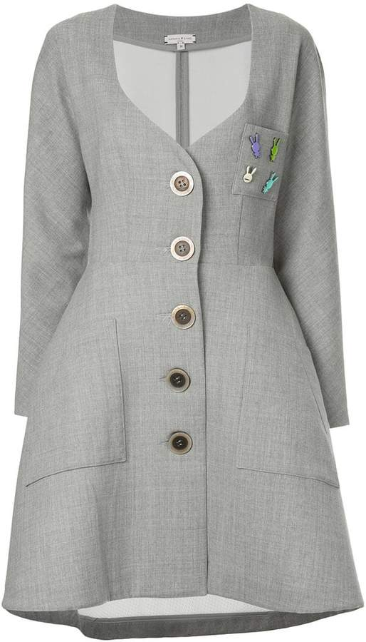 Natasha Zinko sweetheart-neck button coat