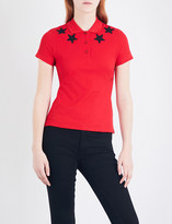 Givenchy Star-embroidered cotton-piqué polo top