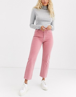 Asos Design DESIGN Florence authentic straight leg jeans in washed coral-Pink