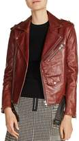 Maje Bixente Leather Moto Jacket