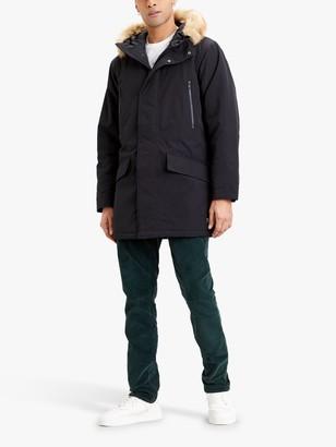 Levi's Woodside Fur Lined Hood Utility Parka Jacket, Jet Black