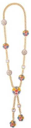 Dolce & Gabbana Flower & Crystal Drop Necklace - Multi