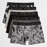 River Island Mens Black leaf print trunks multipack