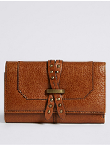 M&S Collection Leather Pin Detailed Purse with CardsafeTM