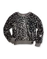 Kenzo Coated Plush Faux Fur Pullover Sweater, Black, Size 8-12