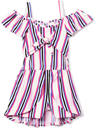 One Step Up Girls' Rompers SMOOTHIE - Smoothie Stripe Tie-Front Walk-Through Romper Dress - Toddler & Girls