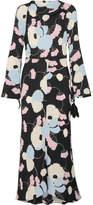 Marni Havana Floral-print Crepe De Chine Maxi Dress