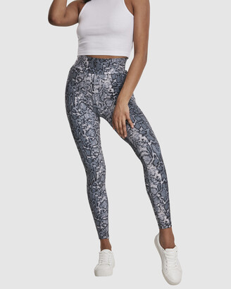 Urban Classics Women's White Leggings - UC Ladies AOP High Waist Leggings - Size One Size, XS at The Iconic