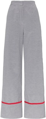 N DUO Wide leg cotton blend check trousers