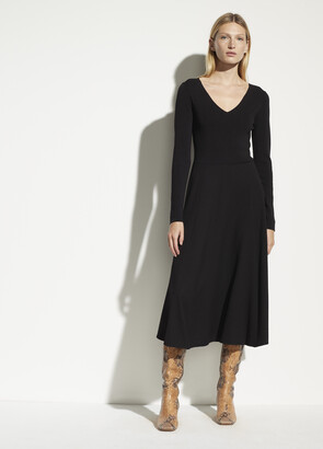 Vince Mixed Media V-Neck Dress