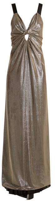 Azzaro Apolonia V Neck Lame Gown - Womens - Silver