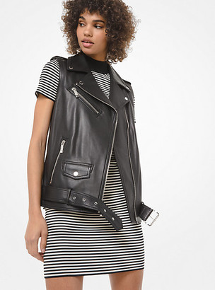 Michael Kors Leather Moto Vest