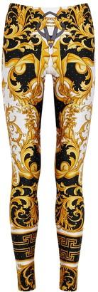 Versace Baroque-print satin-jersey leggings