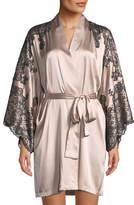 Josie Natori Camilla Lace-Trim Silk Kimono Robe