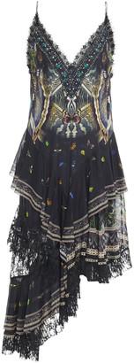 Camilla Maternal Instinct Asymmetric Tiered Embellished Printed Silk-chiffon Slip Dress