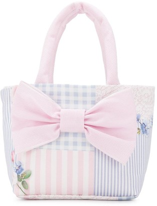 Lapin House Print-Mix Bow Detail Tote Bag