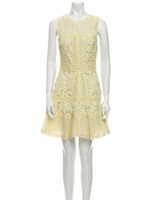 J. Mendel Lace Pattern Mini Dress Yellow