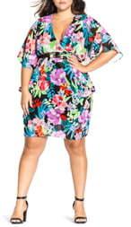 City Chic Chic City Exotic Blooms Chiffon Dress