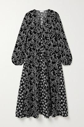 Stine Goya Leila Paneled Printed Cloque Midi Dress
