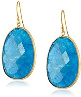 Argentovivo Hand-Pressed Gold-Tone Sterling Silver Aventurine Drop Earrings