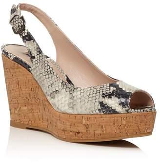 Stuart Weitzman Women's Jean Peep Toe Platform Wedge Sandals