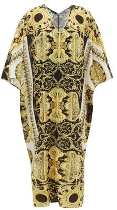 Versace Baroque-print Georgette Kaftan - Womens - Black Gold