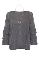 Quiz Grey Frill Sleeve Light Knit Necklace Top
