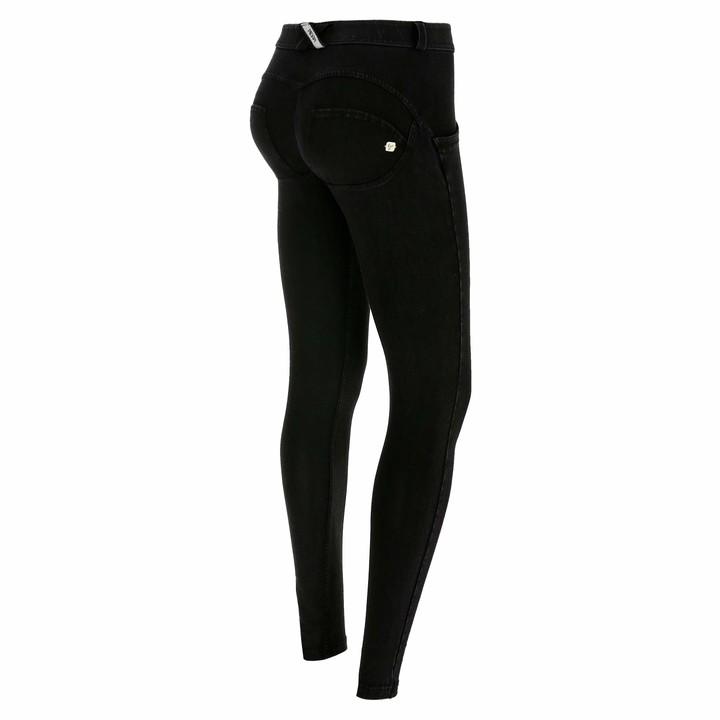 Freddy WR.UP Regular-Rise Super Skinny Trousers in Dark Jersey Denim - Black Jeans-Black Seams - Extra Large