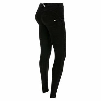 Freddy WR.UP Regular-Rise Super Skinny Trousers in Dark Jersey Denim - Black Jeans-Black Seams - Extra Large