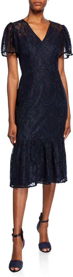 Maggy London Lace Ruffle Flounce Midi Dress