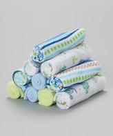 SpaSilk Blue & Green Dino Washcloth Set