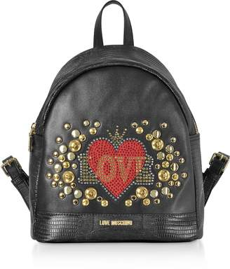 Love Moschino Black Eco-leather Backpack w/ Heart Crystals