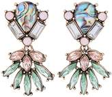 Line & Dot Dot & Line multi crystals cluster floral statement iridescent rhinestone earrings