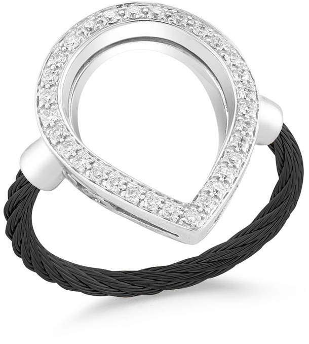 Alor Open Diamond Pave Teardrop Ring, Black, Size 6.5