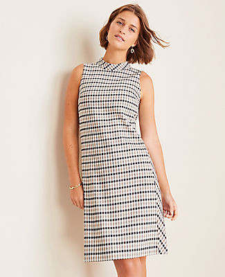 Ann Taylor Modern Plaid Mock Neck Shift Dress