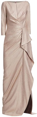 Teri Jon By Rickie Freeman Metallic Ruffle Gown