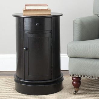 Charlton Home Regan Solid Wood Drum End Table with Storage Color: Vintage Grey