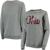 Unbranded Women's Heathered Gray Ohio State Buckeyes Sequin Tri-Blend Pullover Sweatshirt